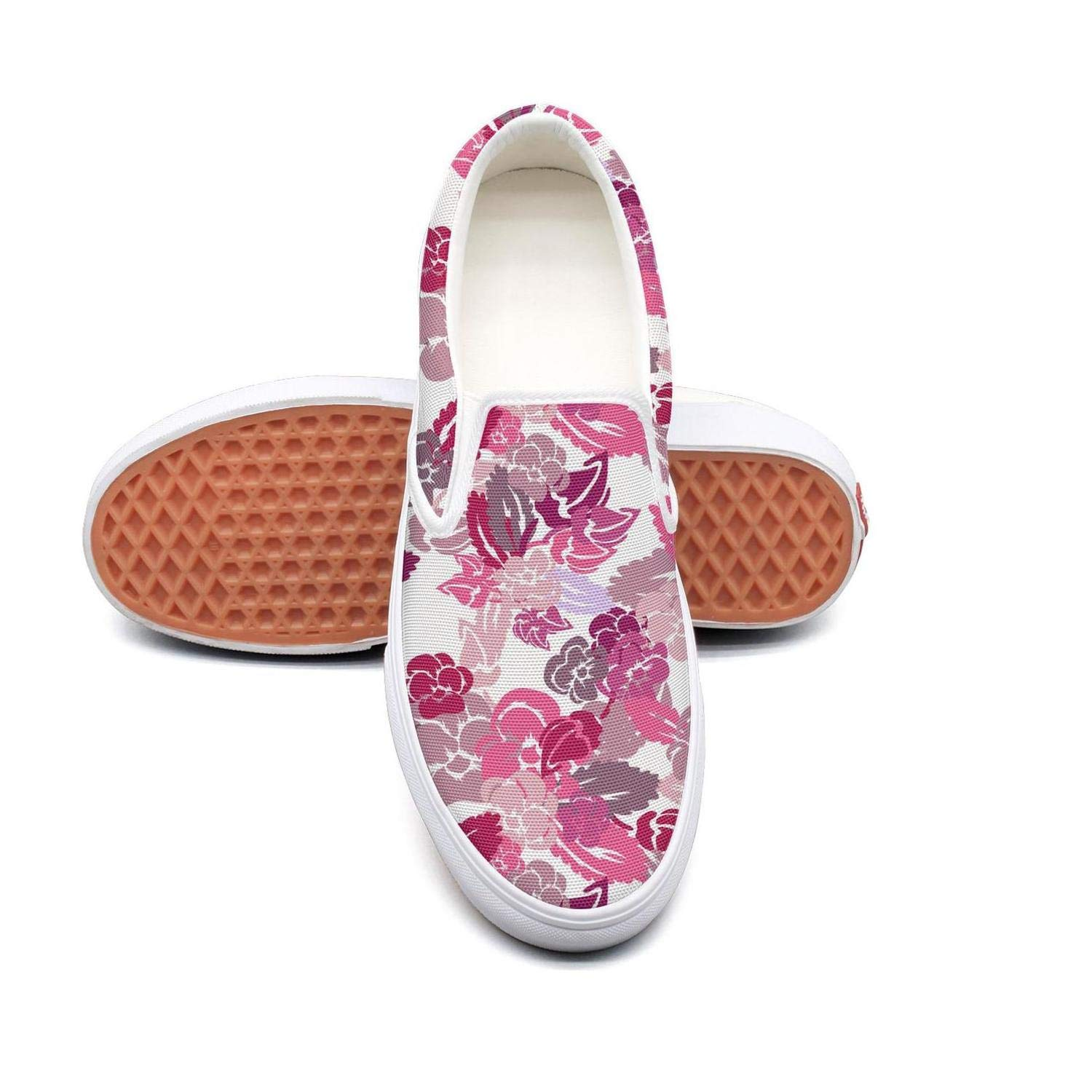 Ice Pink Pansy Field Edible Womens Slip On Loafers Shoes Canvas Upper