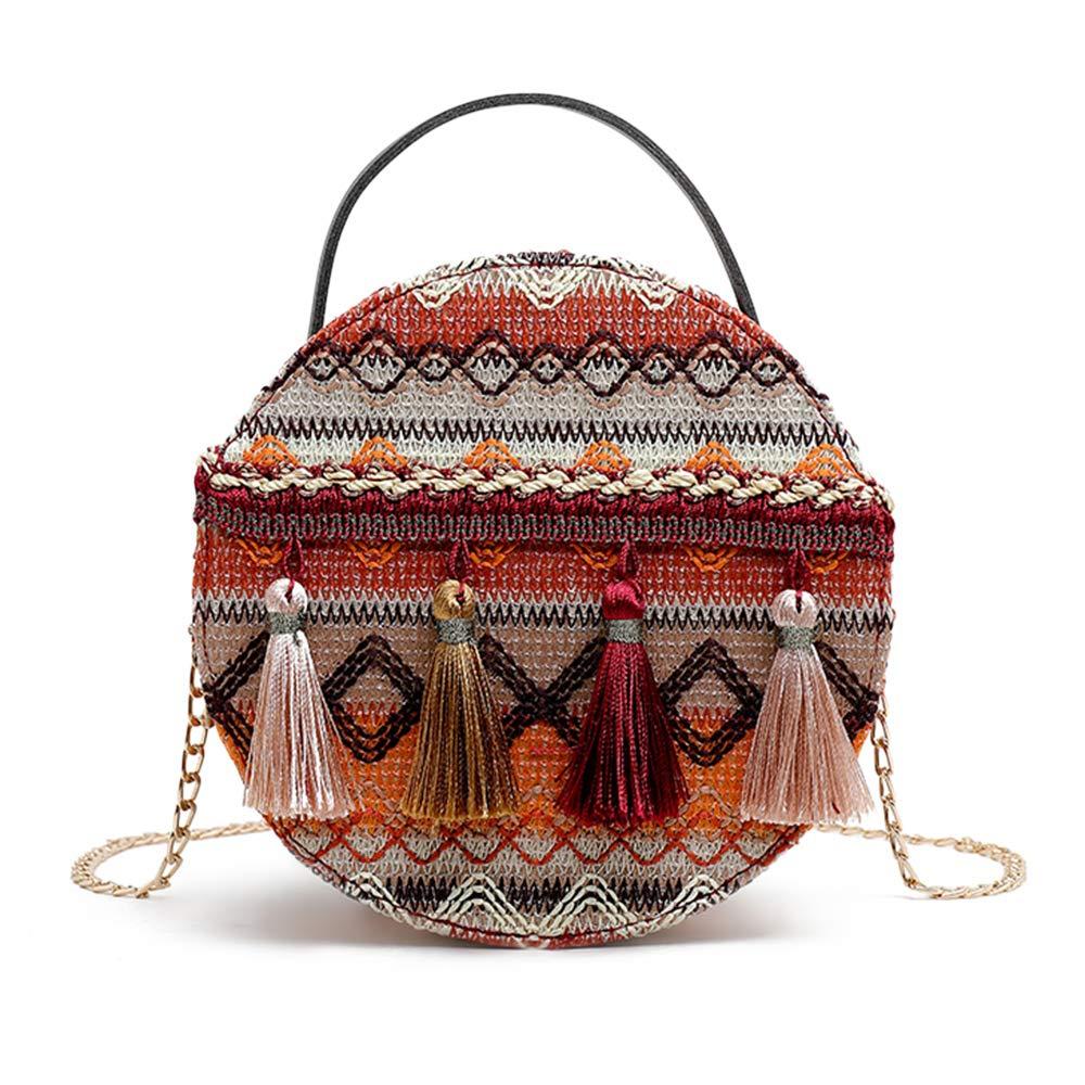 ZEZCLO Bohemian National Style Round Shape Tassel Crossbody Bag Chain Shoulder Bags For Women Girls