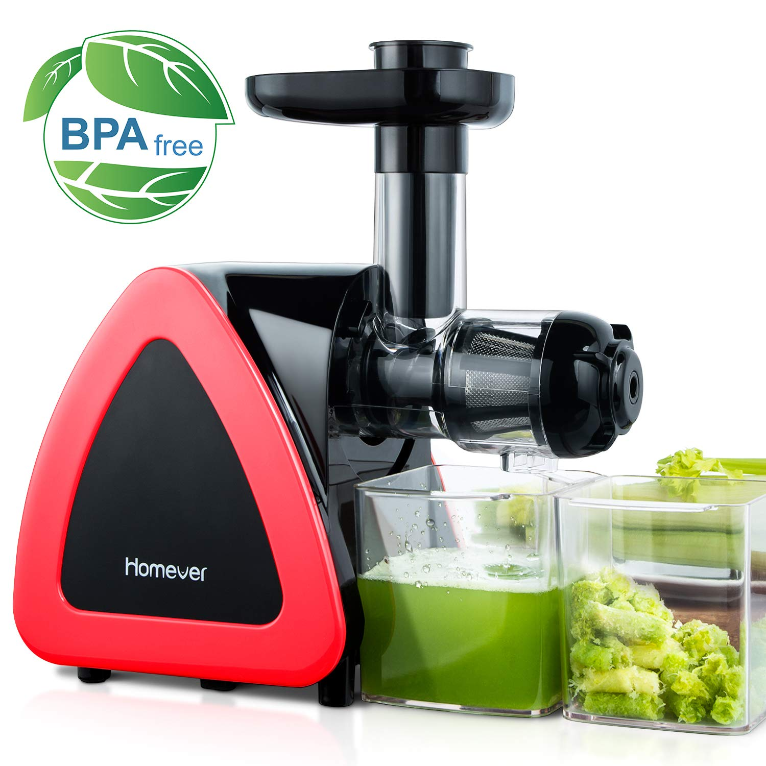 Homever Juicer Machines, Slow Masticating Juicer for Fruits and Vegetables, Quiet Motor, Reverse Function, Easy to Clean Hight Nutrient Cold Press Juicer Machine with Juice Cup & Brush, BPA-Free by Homever (Image #1)
