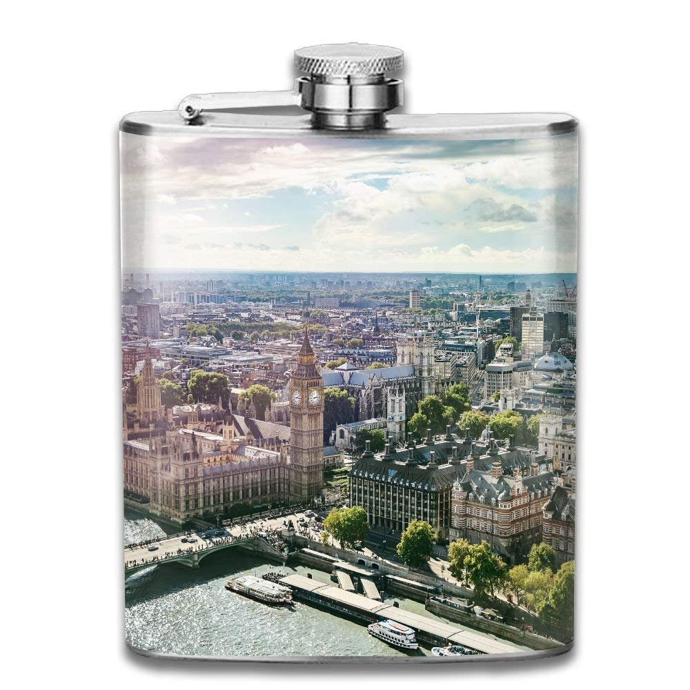 Gxdchfj Aerial View of Big Ben Parliament Building and Westminster Bridge on River Thames with Lens Flare New Brand 304 Stainless Steel Flask 7oz