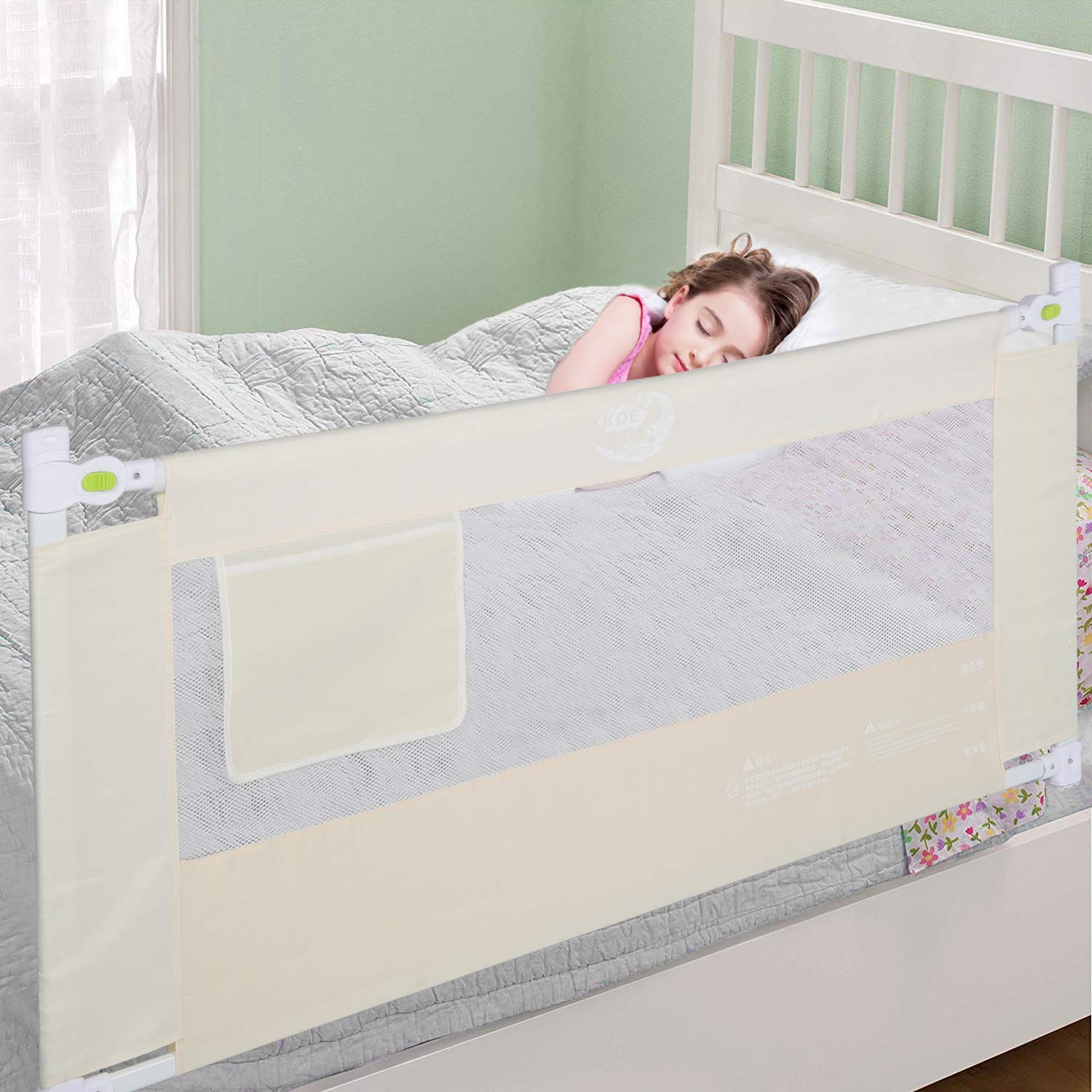 Liusin Bed Rails for Toddlers and Kids - Extra Long Height Adjustable Safety Bed Rail Guard Vertical Lifting with Double Lockable Buckle for Kids Twin, Double, Queen & King Size Bed (70.87 inches)