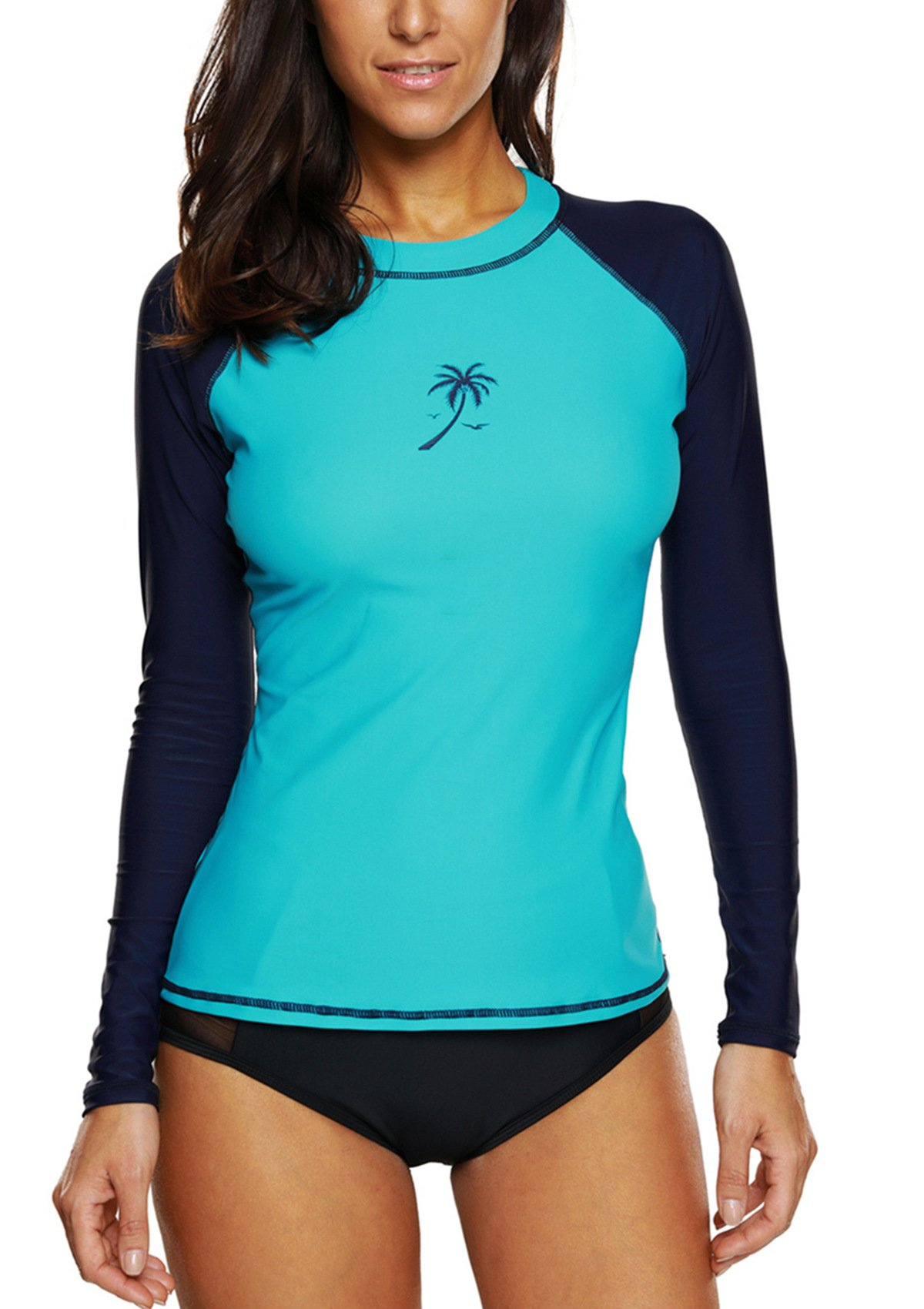 belamo Womens Long Sleeve Athletic Tops Sun Protection Rash Guard Swimsuit