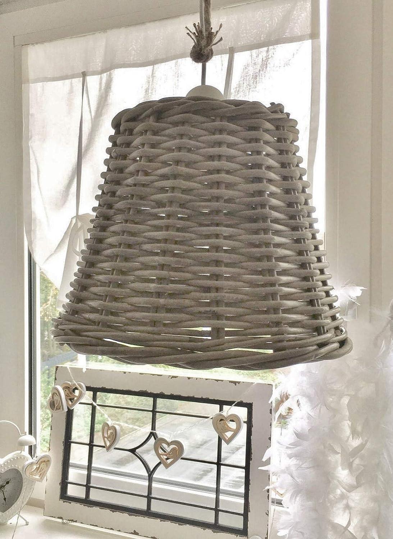 xxl Lampe Rattan Weide Korblampe Deckenlampe Hängelampe shabby Landhaus Leuchte