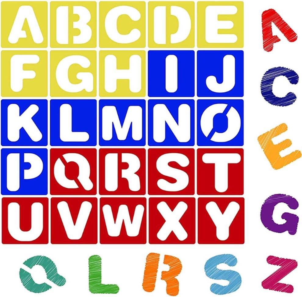 Anyasen 36 Pi/èces Lettre Nombre Pochoir Plastique Alphabet Pochoir Lettre Pochoirs Pochoir Plastique Gabarits de Peinture DIY pour Dessin Peinture dEnfants et Etudiants
