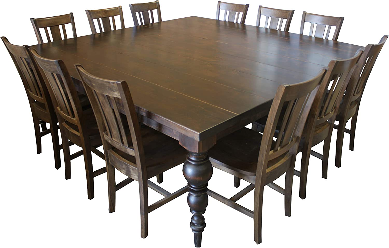 Amazon.com - Turned Leg Square Dining Table Set for 8 (Barn Wood