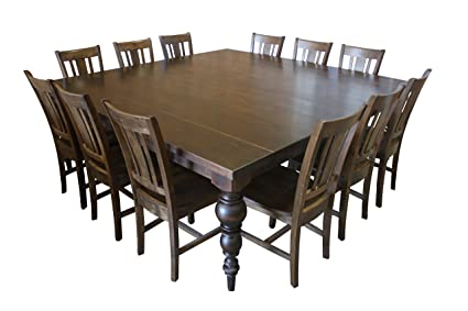 Amazon.com - Turned Leg Square Dining Table Set for 12 ...
