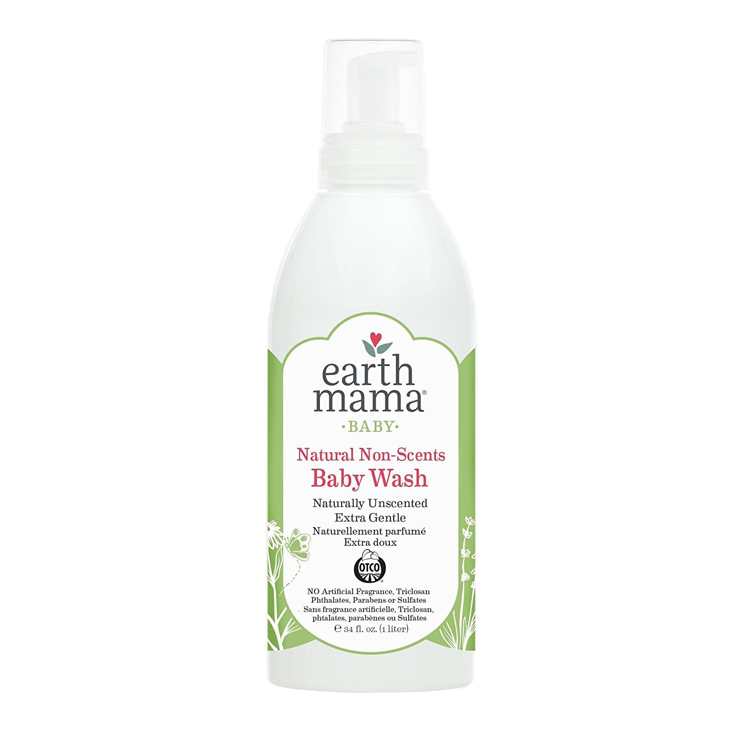 Earth Mama Angel Baby Natural Non-Scents Body Wash and Shampoo-Fragrance Free, 34-Ounce