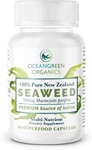 SEAWEED Kelp Supplements NEW ZEALAND |100% Pure ORGANIC & NATURAL | Strongest IODINE 550mcg | Natural Multi-Vitamin | Oceangreen Organics | Thyroid Support, Greater Energy & Gut Health Support | 60 Vege Caps | Traceable