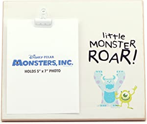 Open Road Brands Disney Pixar Monsters, Inc. Mike and Sulley Wood Photo Clip Frame for 5x7 Picture - Cute Décor for Kids' Bedroom or Play Room - Little Monster Roar!