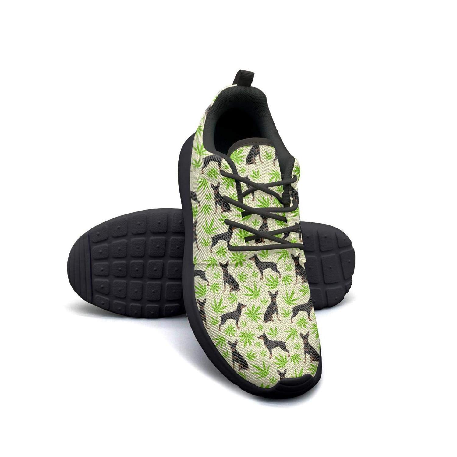 VXCVF Cannabis Leaf Dog Green Womens Ladies Lace-up Sneaker Wear-Resistant Cool