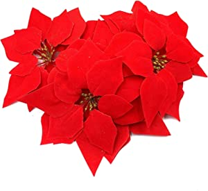 M2cbridge 24 Pieces Artificial Flower Red Poinsettia Head with Glitter Pollen for Christmas Ornaments No Stem