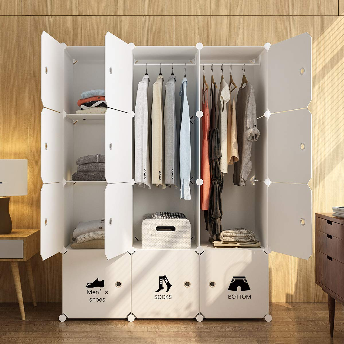 MAGINELS Portable Wardrobe Closet Armoire Cube Storage Organizer for Clothes Bedroom with Drawer White by MAGINELS