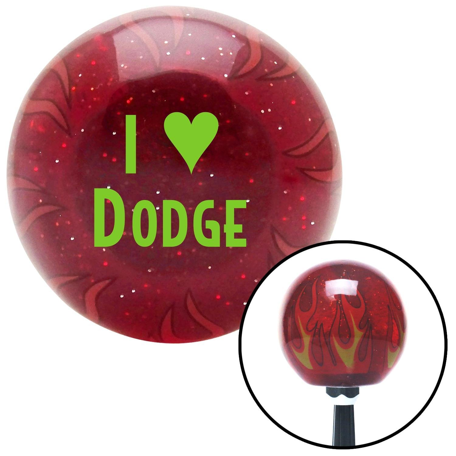 Green I 3 Dodge American Shifter 237315 Red Flame Metal Flake Shift Knob with M16 x 1.5 Insert