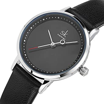 Women Waterproof Watches Leather Band Round Case Fashion Ladies Watches Relojes Mujer (8045 Black)