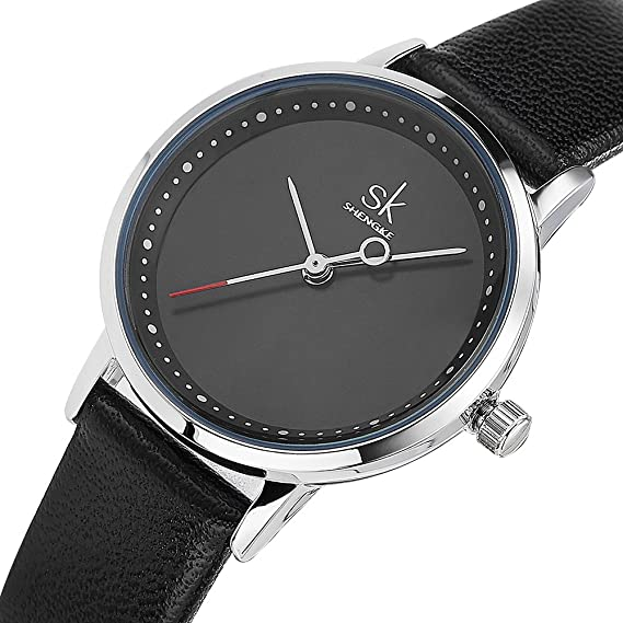 Amazon.com: Women Waterproof Watches Leather Band Round Case Fashion Ladies Watches Relojes Mujer (8045 Black): Watches