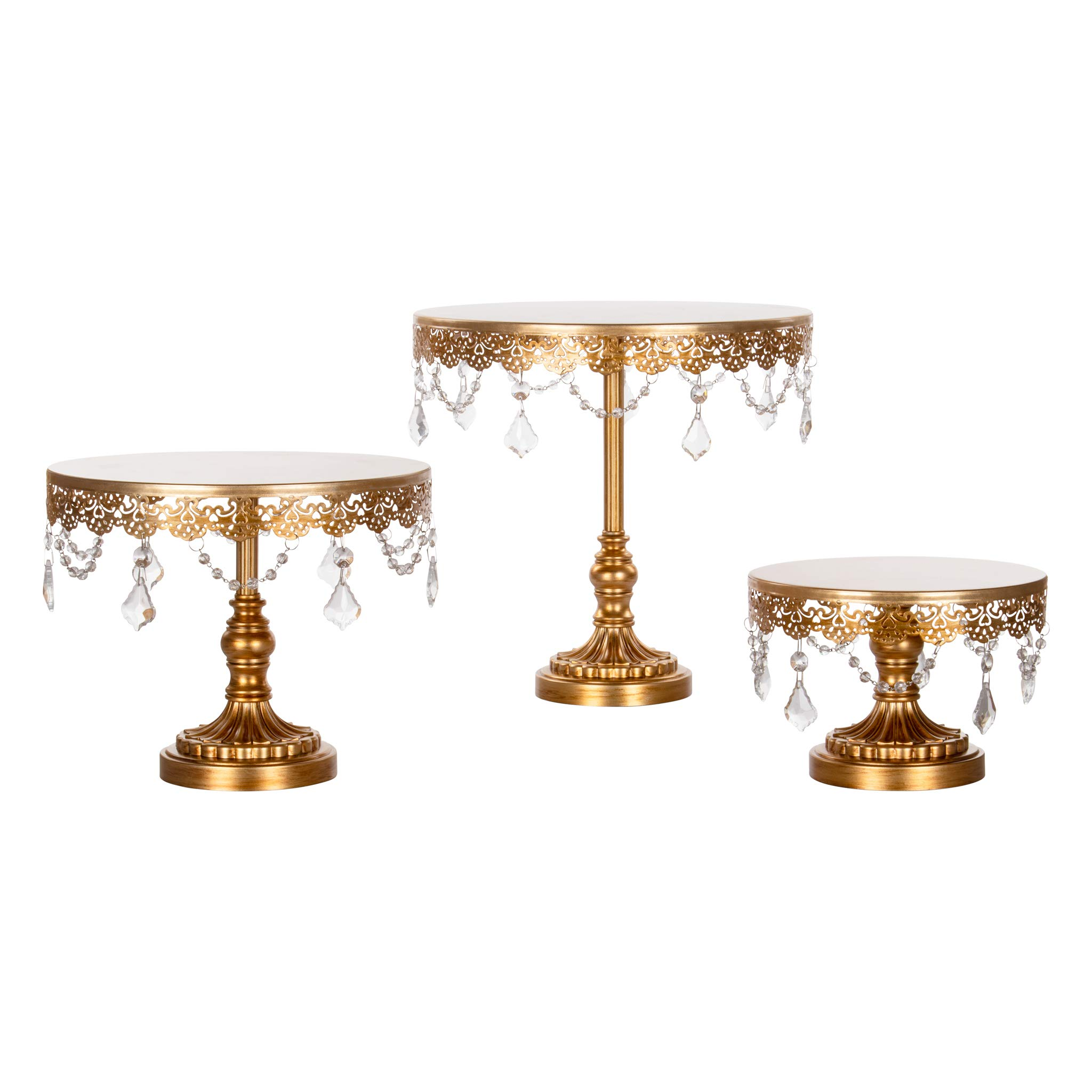 Sophia Cake Stand Set of 3, Round Metal Plate Dessert Cupcake Pedestal Wedding Party Display with Glass Crystals (Gold)
