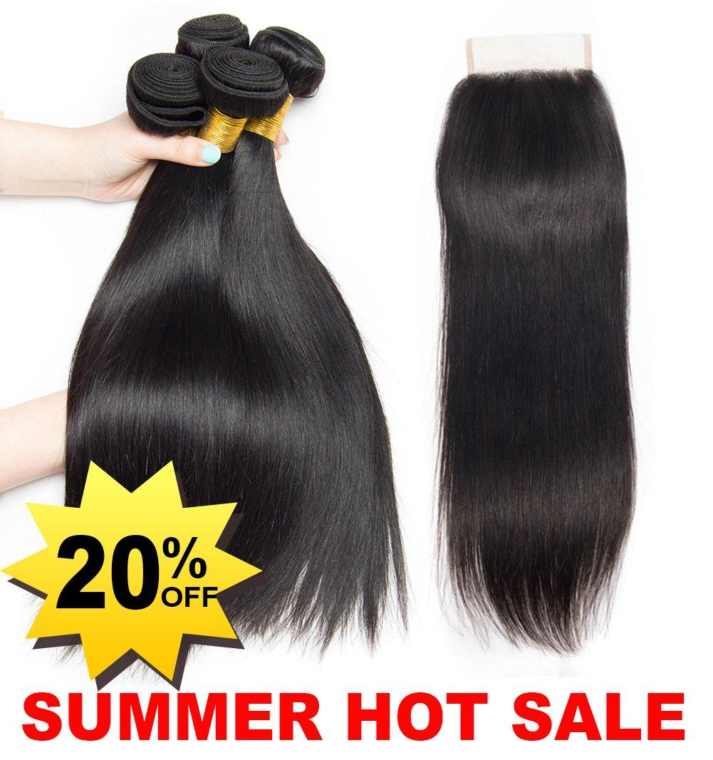 LA® 9a Remy Human Hair with Closure Brazilian Straight Hair 3 bundles capelli umani con pizzo chiusura 10cm×10cm extension capelli veri 335g (35.5cm 40.6cm 45.7cm+30.4cm ) Ladiary