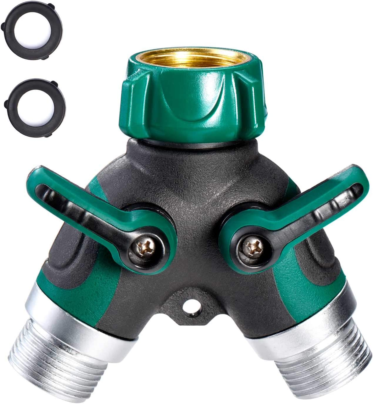 Delxo Garden Hose Splitter 2 Way Y Valve Metal Hose Connector,Solid Brass Hose Connector Garden Splitter Adapter Outdoor for Outdoor Faucet Timers,2 Rubber Hose Washers (Green)