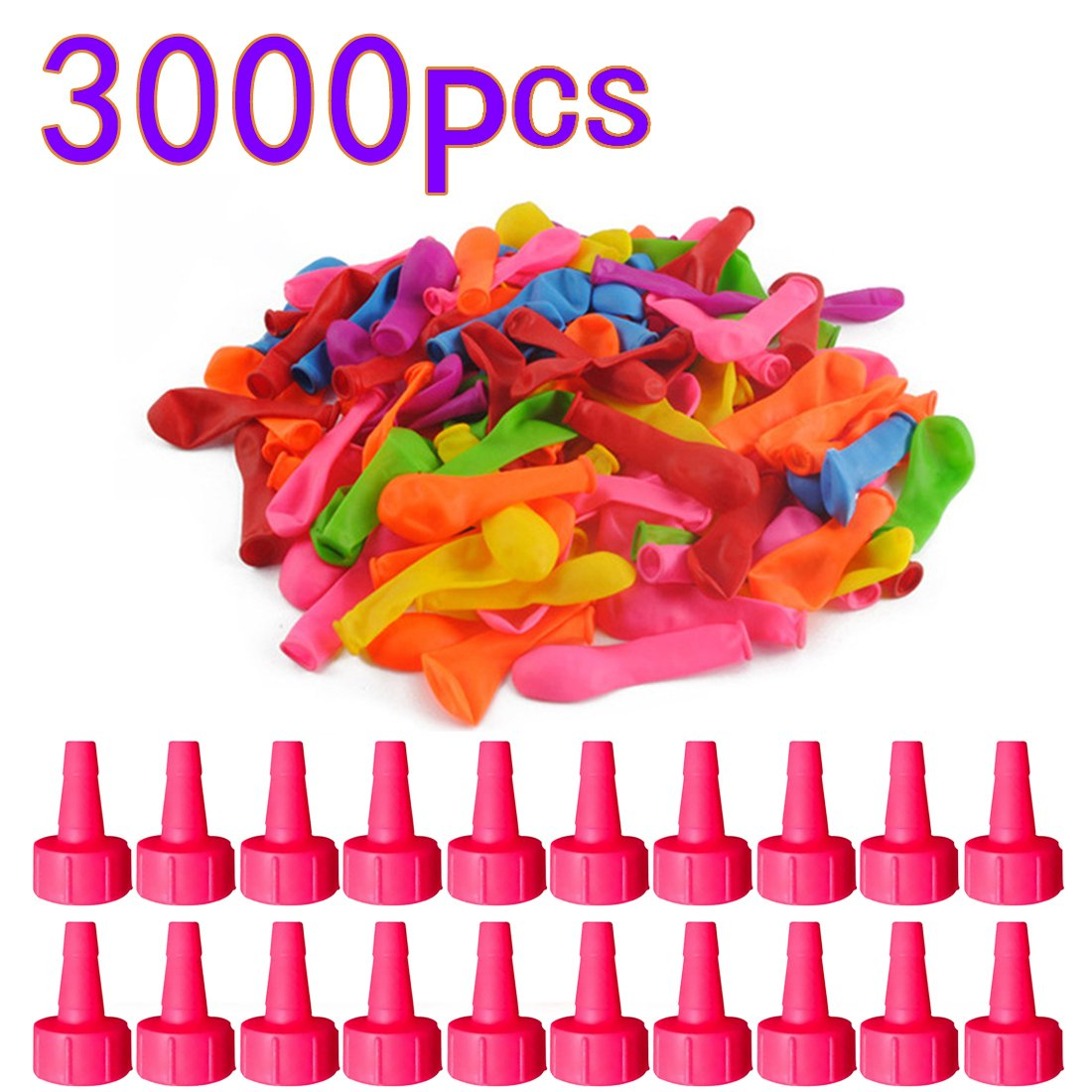Yamix 3000 Pack Water Balloons Latex Water Bomb Balloons Fight Games for Kids Adults (Funnel Color Random)