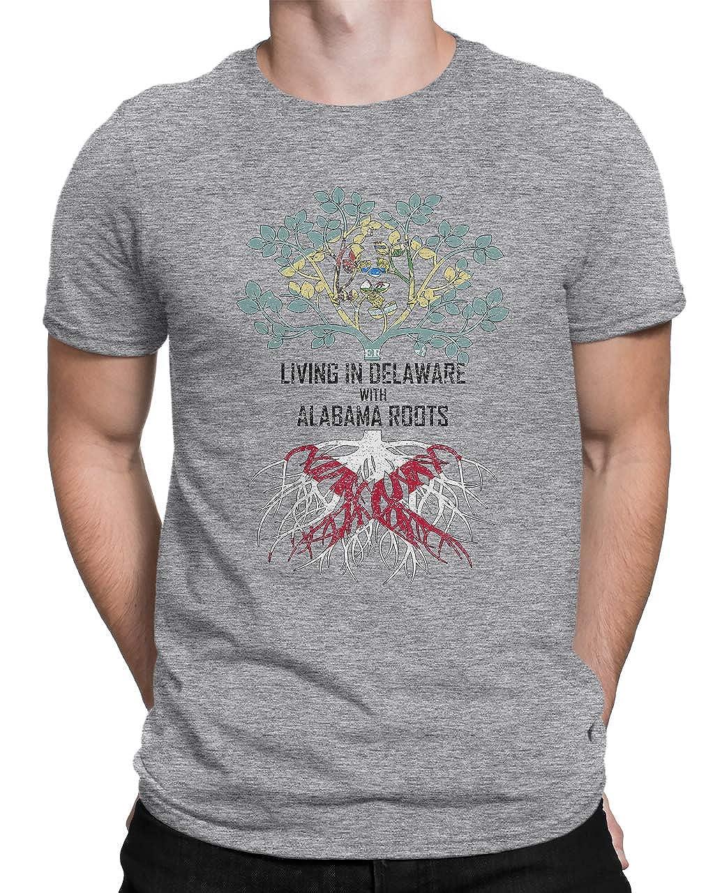 Tenacitee Mens Living in Delaware Alabama Roots T-Shirt