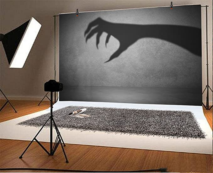 Halloween Backdrop 10x6.5ft Polyester Photography Background Ghastly Devils Talon Shadow Horror Night Scarey Trick or Treat Party Poster Kids Baby Shoot Gloomy Witchs Claw Evil Black Magic