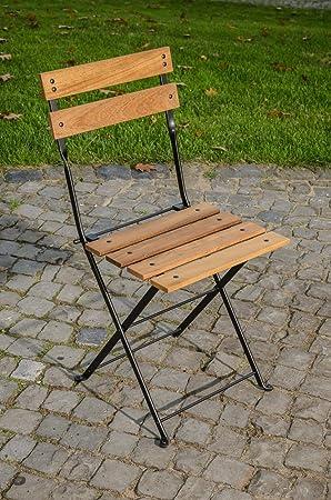 CLP Silla Plegable PALU en Hierro Galvanizado | Silla de Jardín con Soporte de Hierro y Madera de Teca | Altura del Asiento: 47 cm | Color Negro: Amazon.es: Hogar