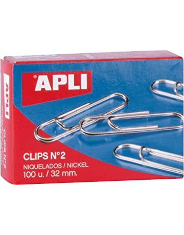 APLI 11711 - Clips níquel nº2 (32 mm), 100 clips