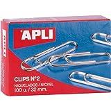 APLI 11711 - Clips niquelados nº2 32 mm 100 u.