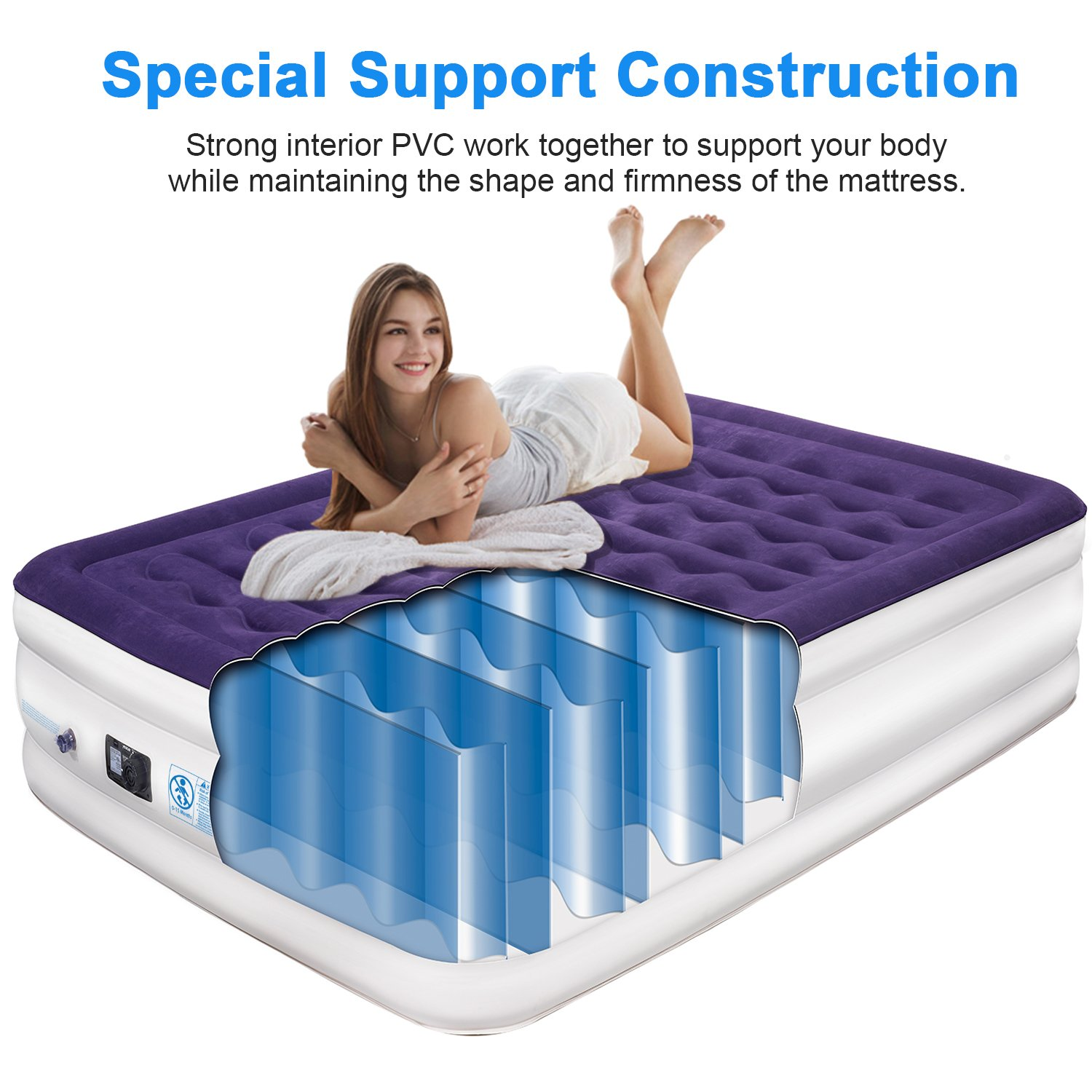 yeacar Air Mattress Blow Up Raised Airbed with Internal High Capacity Pump, Portable Inflatable Bed Queen Size by yeacar (Image #2)