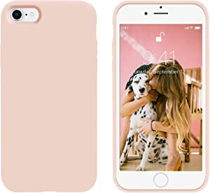 OTOFLY for iPhone SE Case 2020, iPhone 8 Case,iPhone 7 Case, [Silky and Soft Touch Series] Premium Soft Button Liquid Silicone Rubber Protective Case Compatible with iPhone 7/8/SE 2020 - (Pink Sand)