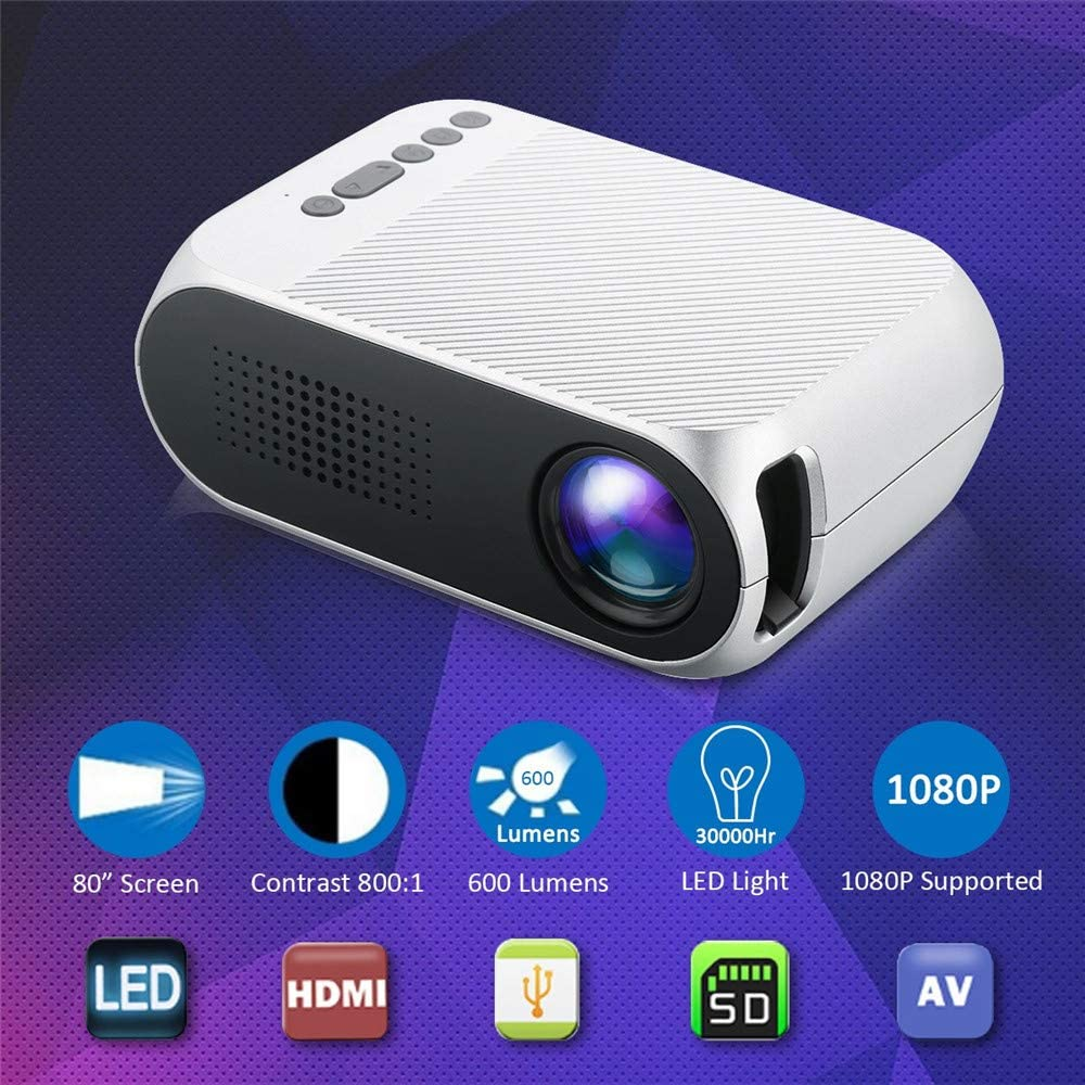 Amazon.com: Quarkjk - Mini proyector LED 1080 P HD 400-600 ...