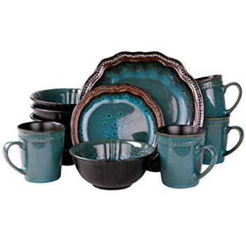 Elama Mystic Waves Round Oval Stoneware Dinnerware Set