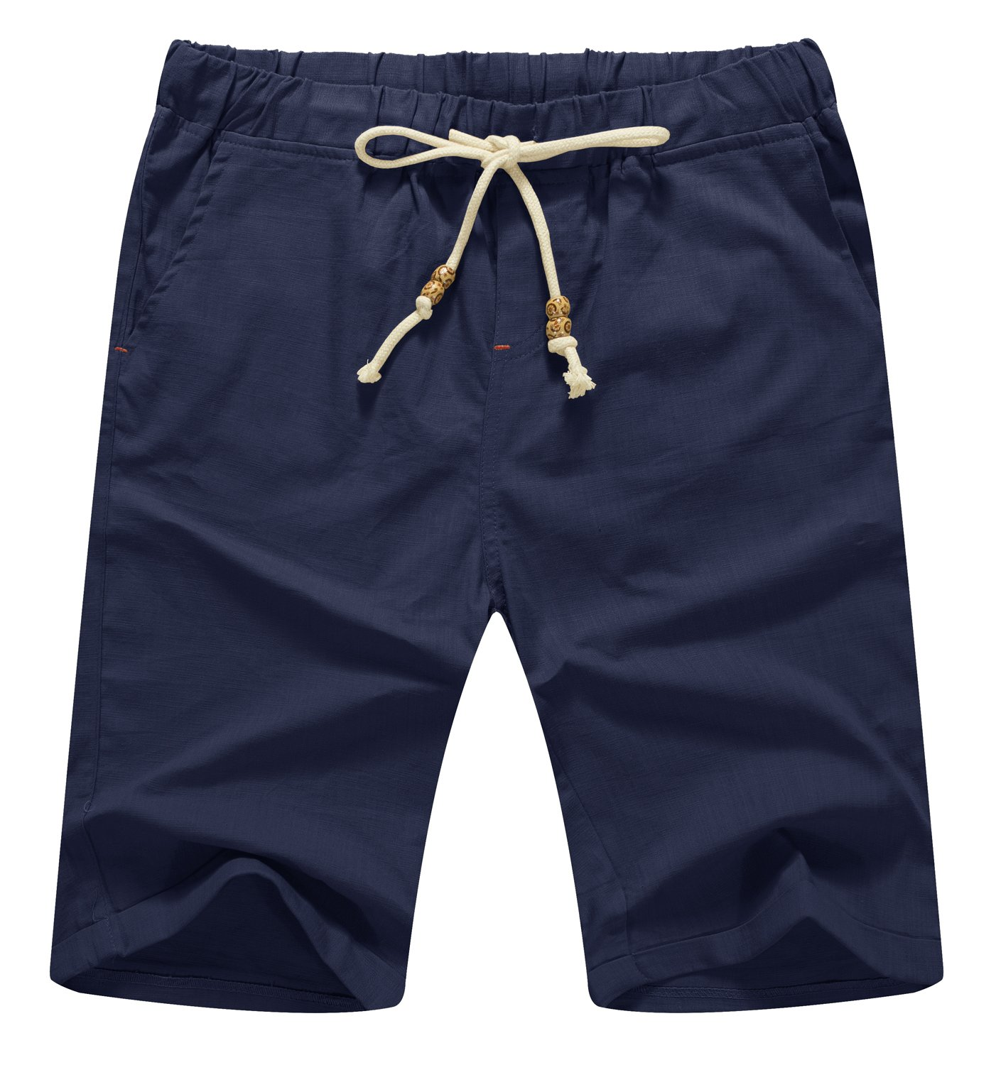 Mr.Zhang Men's Linen Casual Classic Fit Short Summer Beach Shorts Navy Blue-US M