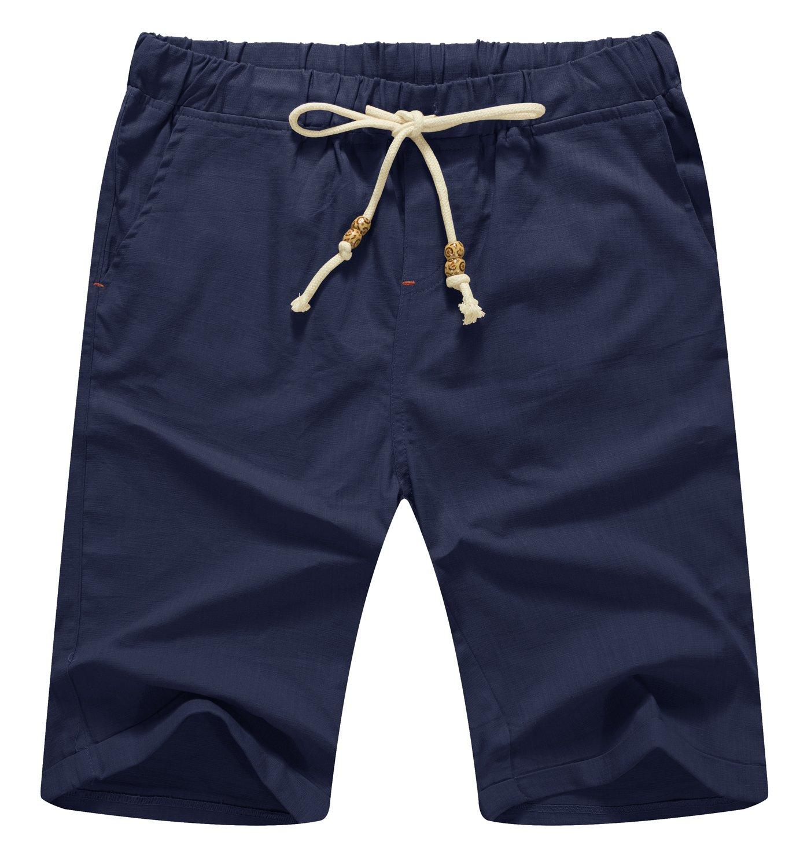 NITAGUT Men's Linen Casual Classic Fit Short Navy Blue L