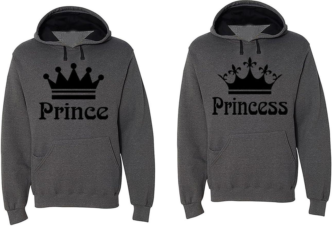 Matching His /& Hers Couple Hooded Sofspun Sweatshirt Contrast Hood Set FASCIINO Prince and Princess Black Print