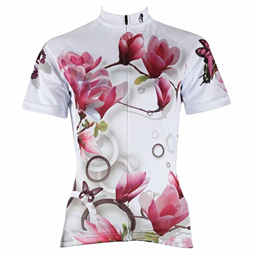 4e3cb7c33 ILPALADINO Women s Cycling Jersey Short Sleeve Biking Shirts Flowers  Butterflies ...