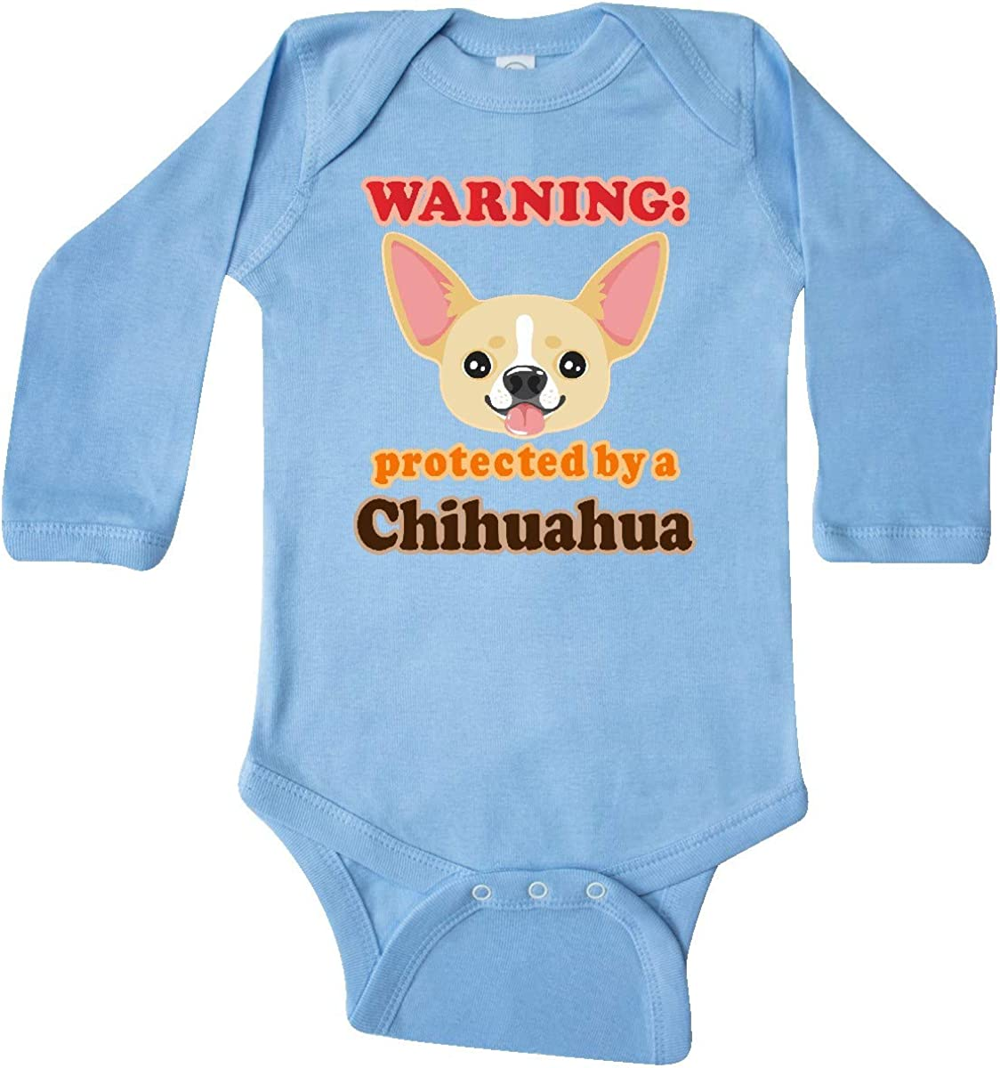 inktastic Protected by a Chihuahua Long Sleeve Creeper