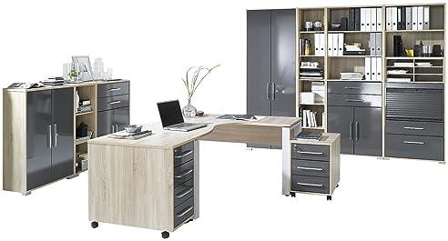 MAJA Möbel 1203 2574 Büroprogramm SYSTEM, Sonoma Eiche Nachbildung   Grau  Hochglanz
