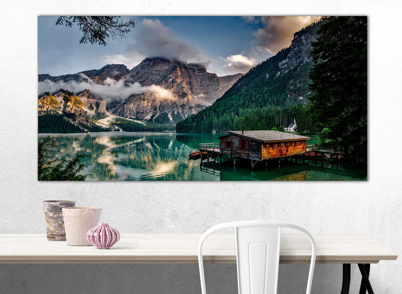 XXL Wandbild, Leinwandbild 100x50cm, Hütte in den Dolomiten mit ...
