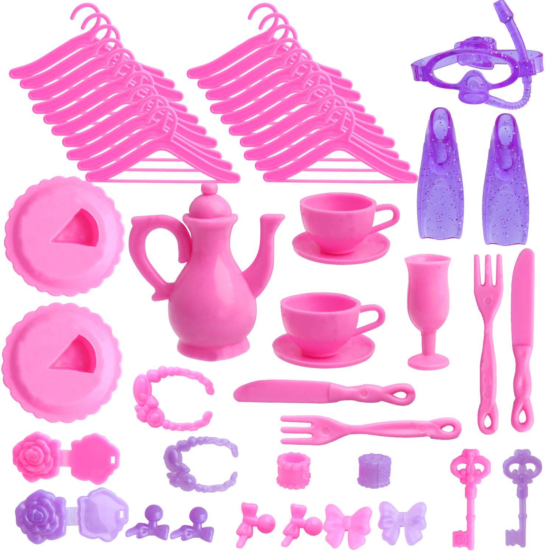 Outee 85 Piezas de Ropa de mu/ñecas Barbie Set Incluyendo 10 Piezas de Ropa Barbie 70 Piezas de Accesorios de mu/ñeca Barbie Party Grown Outfit para ni/ñas y ni/ños