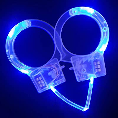Fun Central LED Light Up Police Handcuff Toys for Kids' Halloween Costume Accessory - Blue: Toys & Games