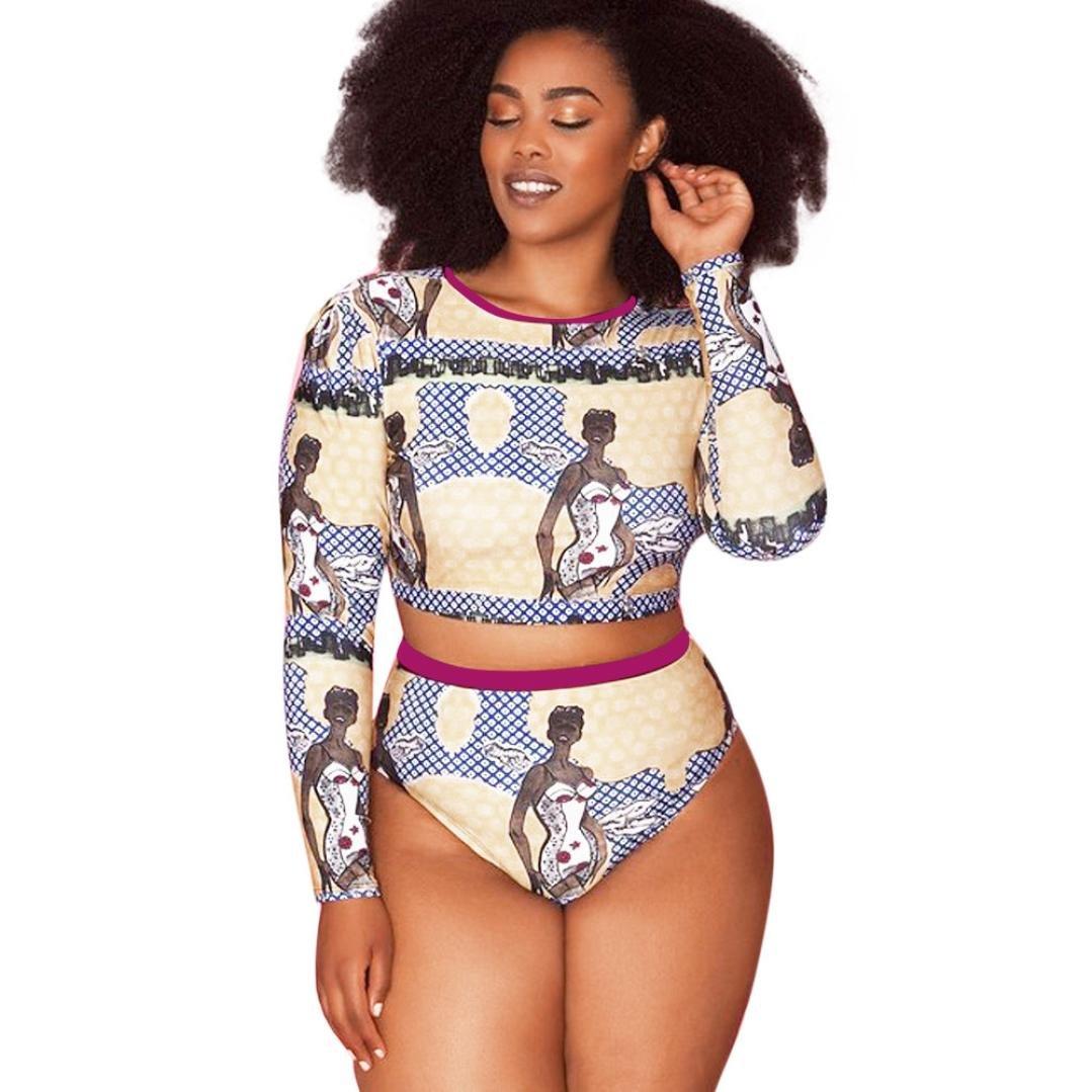 FANOUD Plus Size Womens Push Up Swimsuit Padded Beachwear Monokini Swimwear Bikini Set (XL)