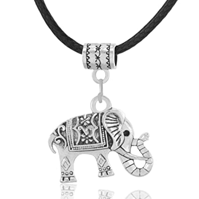 MESE London Elephant Necklace Black Leather Cord Silver Tribal Pendant - Elegant Gift Box zb6ROxU
