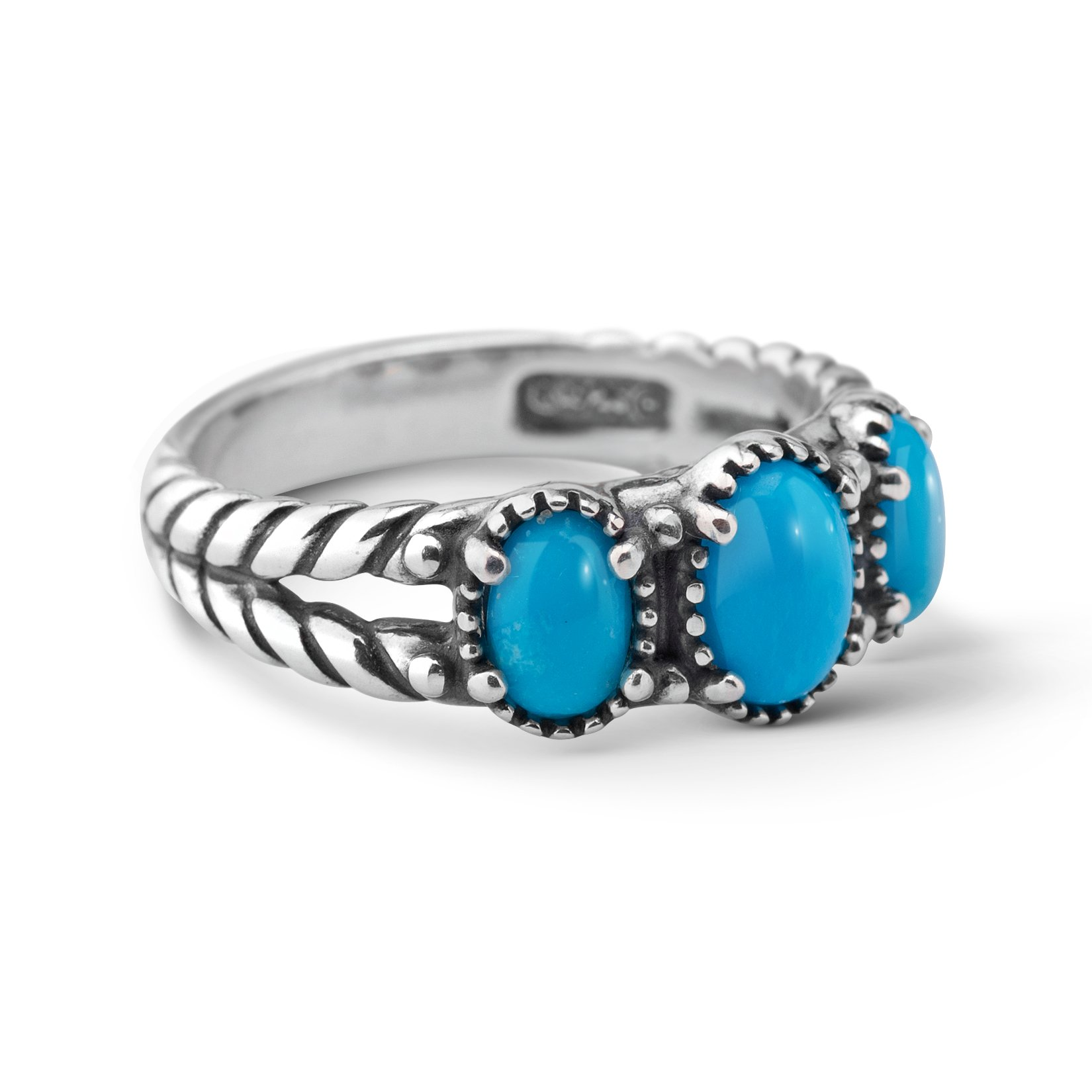 American West Sterling Silver Sleeping Beauty Turquoise Three Stone Ring- Size 8 - Friendship Collection