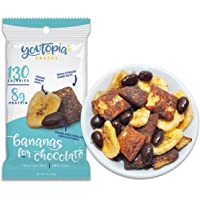 Youtopia Snacks Delicious 130-calorie Snack Packs, High-Protein Low-Sugar Low-calorie Gluten-free GMO-free Healthy Snacks, 1oz Snack Packs (Pack of 10), Bananas for Chocolate