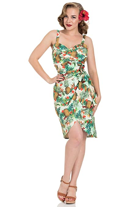 Pin Up Dresses | Pin Up Clothing Voodoo Vixen Peggy Tropical 1950s Vintage Pencil Dress £44.99 AT vintagedancer.com
