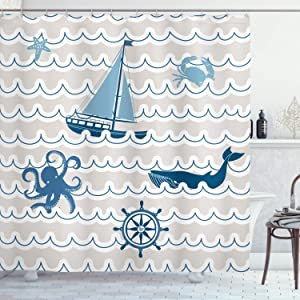 "Ambesonne Nautical Shower Curtain, Wave Pattern with Nautical Elements Octopus Crab Starfish Whale Art, Cloth Fabric Bathroom Decor Set with Hooks, 75"" Long, Beige Blue"