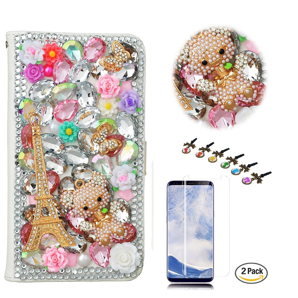 STENES LG V35 ThinQ Case - Stylish - 3D Handmade Bling Eiffel Tower Butterfly Bear Wallet Credit Card Slots Fold Media Stand Leather Cover with Screen Protector for LG V35 ThinQ - Pink