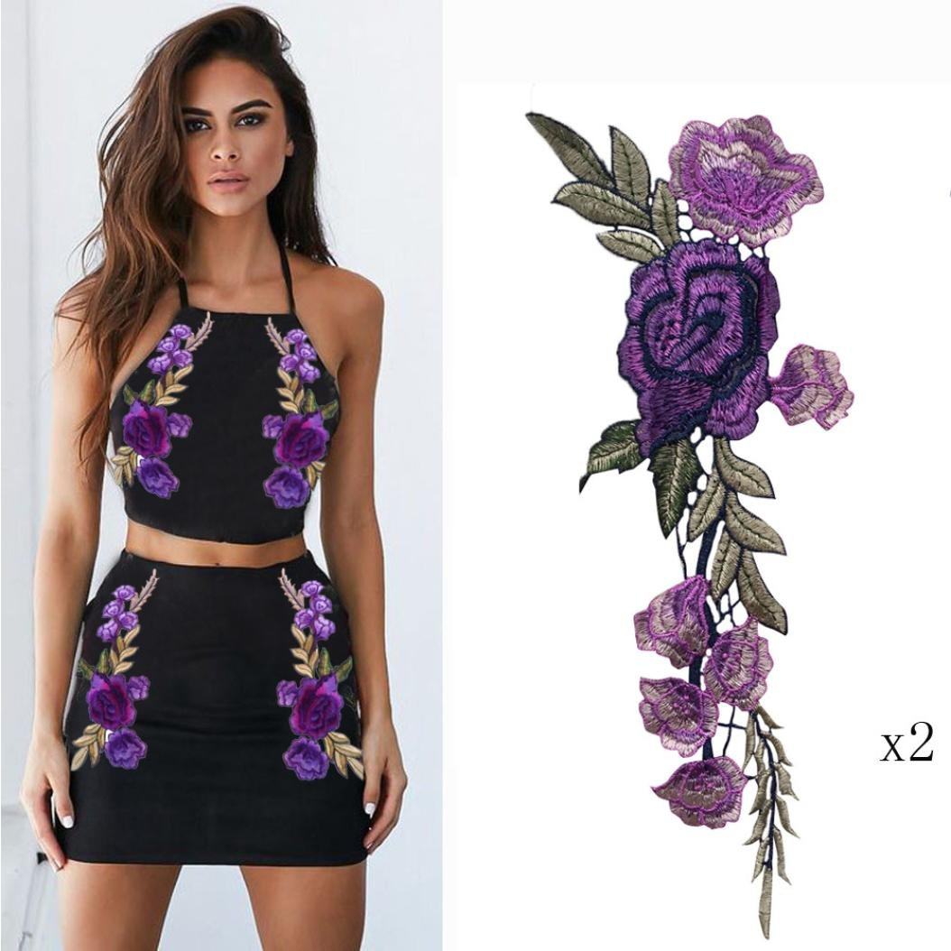Purple Hunpta 2PC DIY Embroidered Roses Floral Collar Sew Patch Sticker Applique Badge
