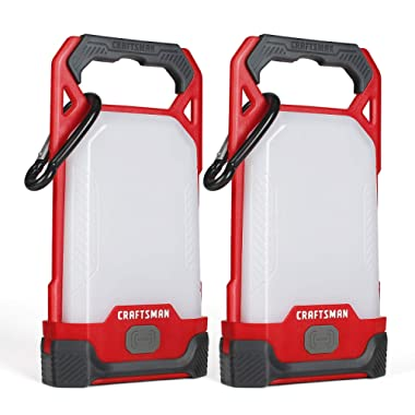 Craftsman LED Camping Lantern, 2 Pack, 150 Lumens, Perfect Lantern Flashlight for Hiking, Home, Hurricane Emergency Survival Kits, AAA Alkaline Batteries Included